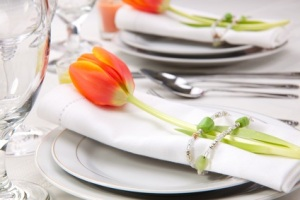Table settings with fresh tulips