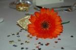Orange gerbera wedding breakfast place setting