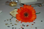 Orange gerbera wedding breakfast place setting