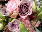 Dusky pinks and faded lilac wedding flowers
