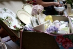 Vintage suitcase full of pretty china crockery