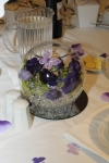 Wedding table centre piece and purple buttterfly table confetti
