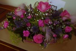 Large, pink and purple, floral table arrangement