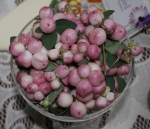 Snowberries in glass dish
