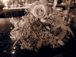 Sepia image of wedding table decoration